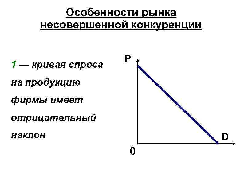 Особенности рынка несовершенной конкуренции 1 — кривая спроса P на продукцию фирмы имеет отрицательный