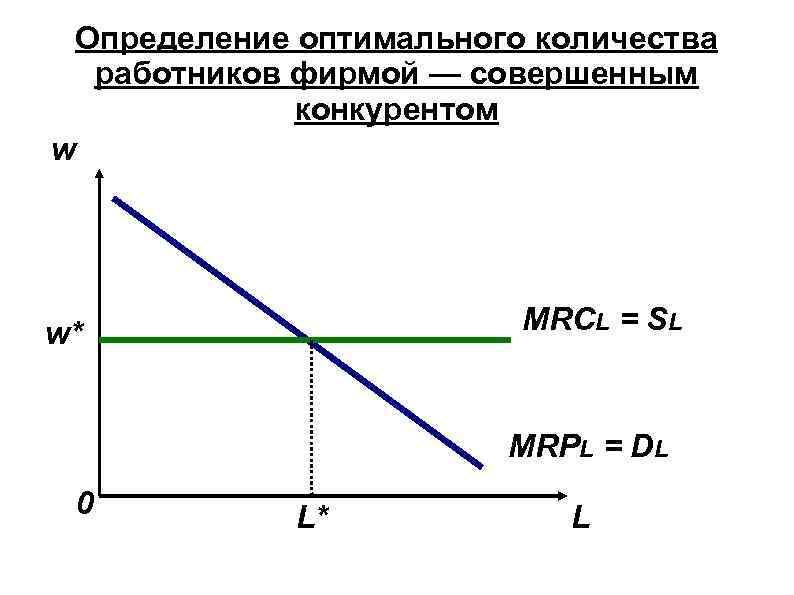 Определение оптимального количества работников фирмой — совершенным конкурентом w MRCL = SL w* MRPL