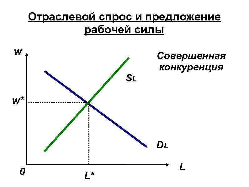 Отраслевой спрос и предложение рабочей силы w SL Совершенная конкуренция w* DL 0 L*