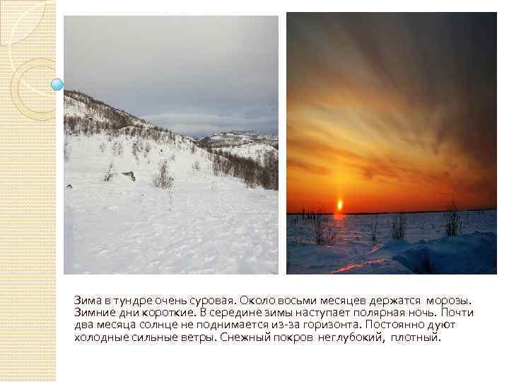 Зима в тундре очень суровая. Около восьми месяцев держатся морозы. Зимние дни короткие. В