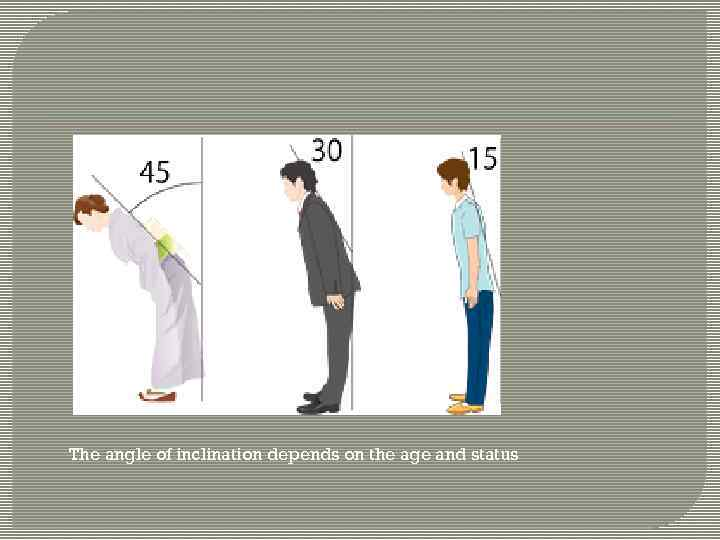 The angle of inclination depends on the age and status