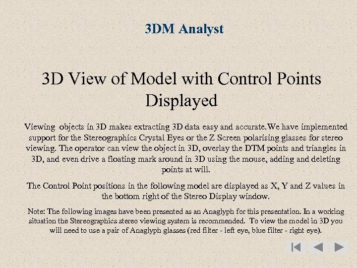 3 DM Analyst 3 D View of Model with Control Points Displayed Viewing objects