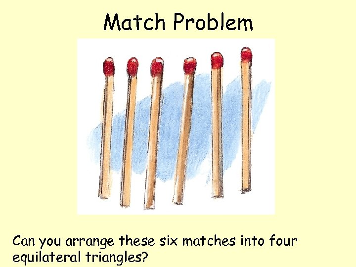 Match Problem Can you arrange these six matches into four equilateral triangles?