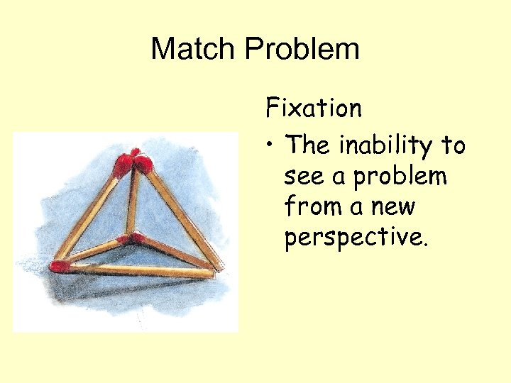 Match Problem Fixation • The inability to see a problem from a new perspective.