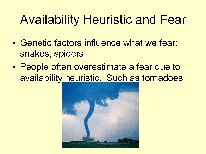 Availability Heuristic and Fear • Genetic factors influence what we fear: snakes, spiders •