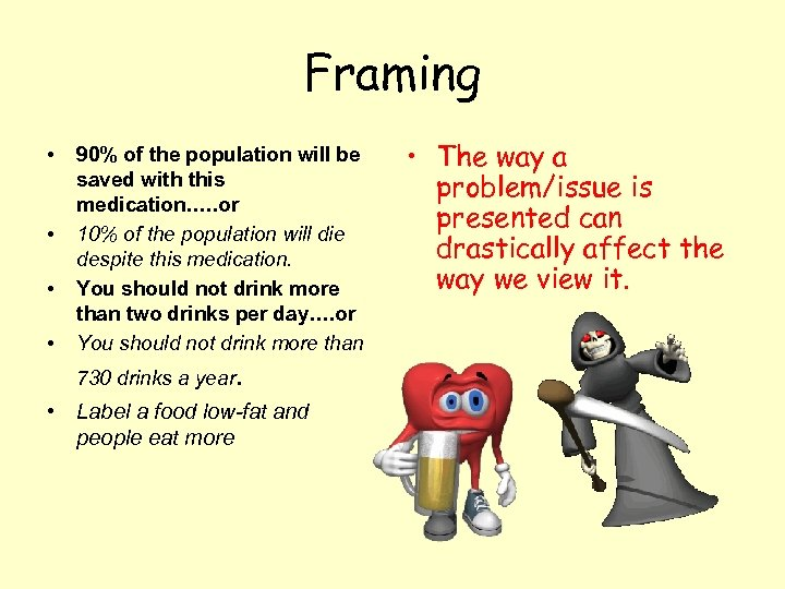 Framing • • 90% of the population will be saved with this medication…. .