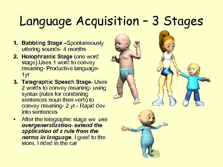 Language Acquisition – 3 Stages 1. Babbling Stage –Spontaneously uttering sounds- 4 months 2.