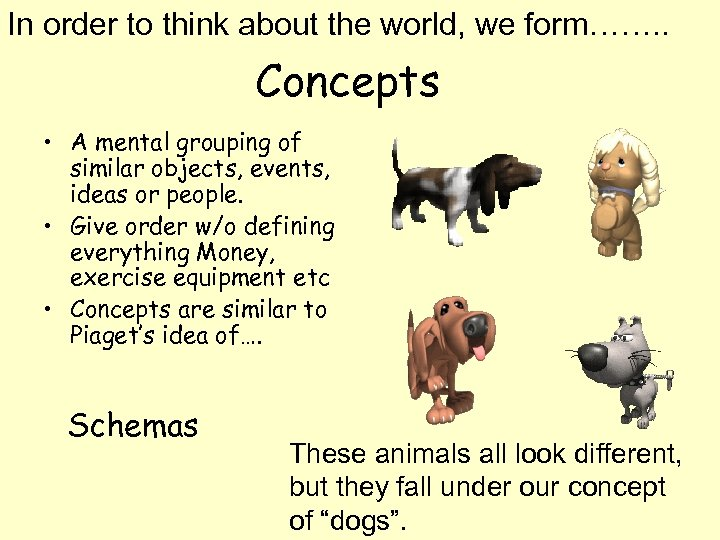 In order to think about the world, we form……. . Concepts • A mental
