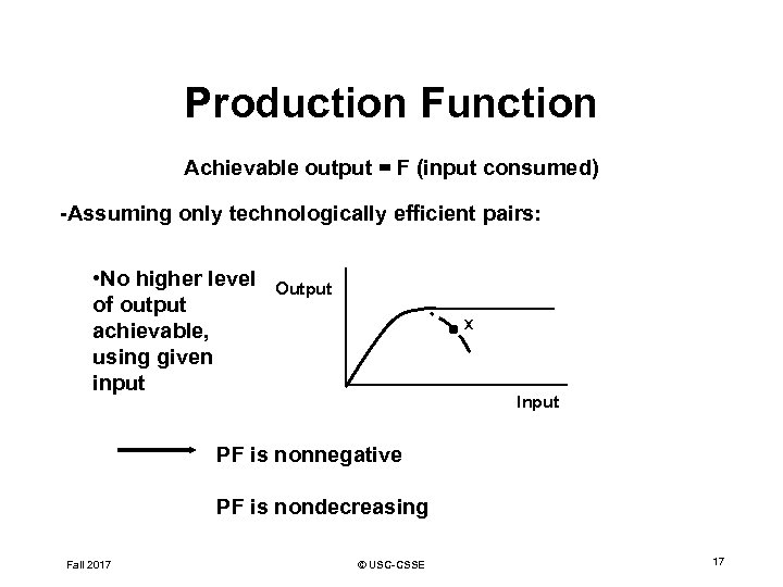 Production Function Achievable output = F (input consumed) -Assuming only technologically efficient pairs: •