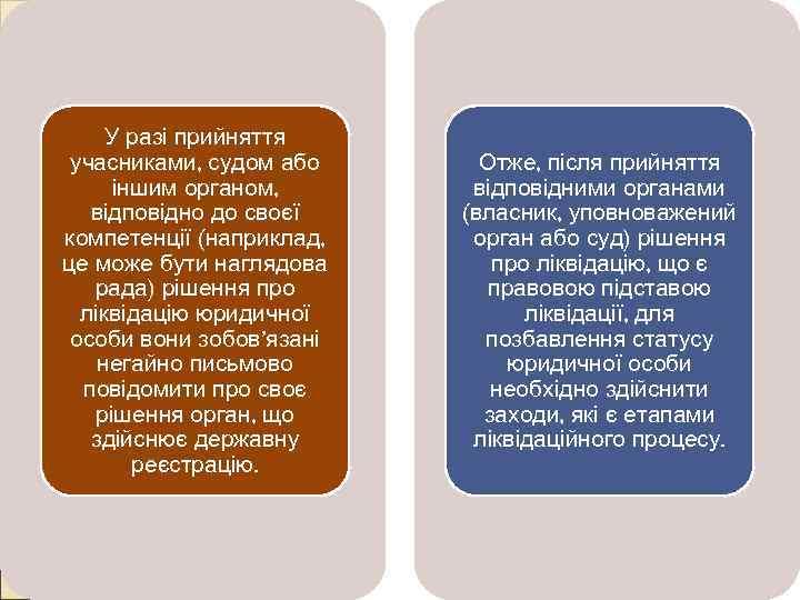 У разі прийняття учасниками, судом або іншим органом, відповідно до своєї компетенції (наприклад, це