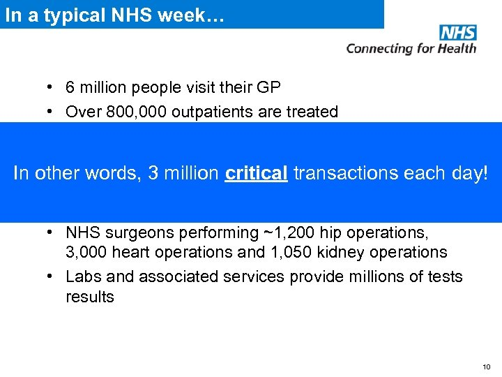 In a typical NHS week… • 6 million people visit their GP • Over