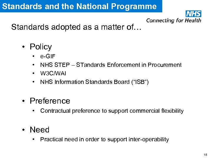 Standards and the National Programme Standards adopted as a matter of… • Policy •
