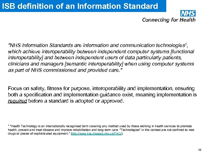 ISB definition of an Information Standard