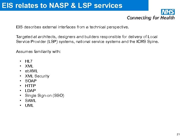 EIS relates to NASP & LSP services EIS describes external interfaces from a technical