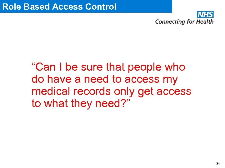"Role Based Access Control ""Can I be sure that people who do have a"