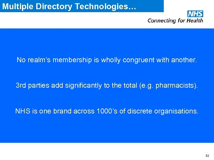 Multiple Directory Technologies… • Spine Directory uses Sun One • NHSmail uses CA e.