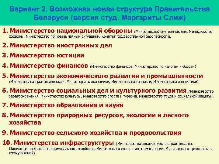 Вариант 2. Возможная новая структура Правительства Беларуси (версия студ. Маргариты Слиж) 1. Министерство национальной