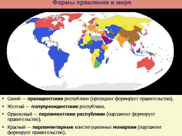 Формы правления в мире § Синий — президентские республики (президент формирует правительство). § Желтый