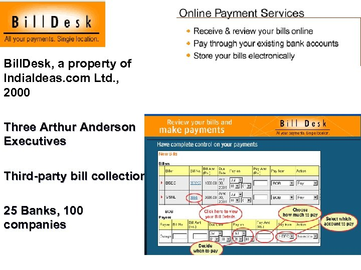 Bill. Desk, a property of India. Ideas. com Ltd. , 2000 Three Arthur Anderson