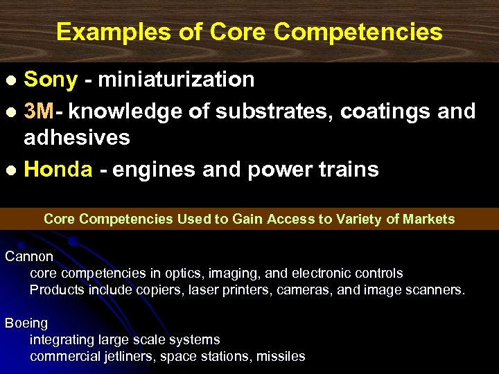 Examples of Core Competencies Sony - miniaturization l 3 M- knowledge of substrates, coatings