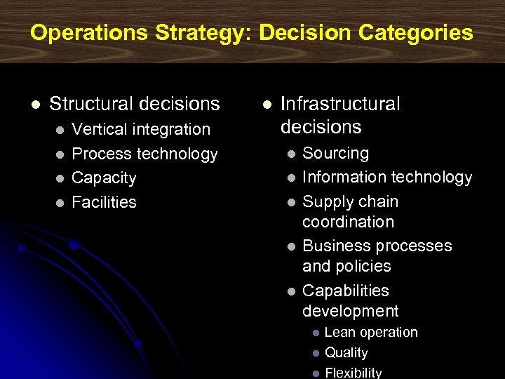 Operations Strategy: Decision Categories l Structural decisions l l Vertical integration Process technology Capacity