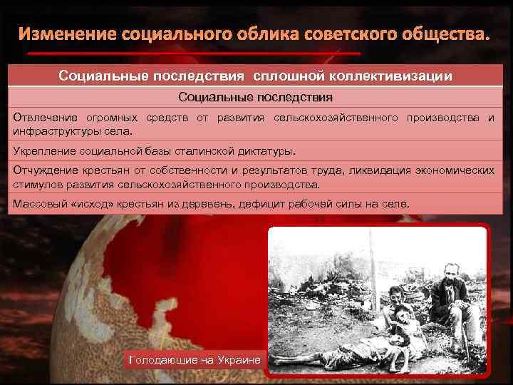 Изменение социального облика советского общества. Социальные последствия сплошной коллективизации Социальные последствия Отвлечение огромных средств