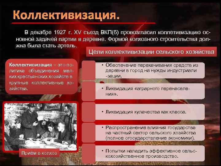 Коллективизация. В декабре 1927 г. XV съезд ВКП(б) провозгласил коллетивизацию основной задачей партии в