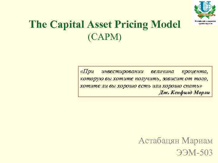 capital asset pricing model essay The capital asset pricing model (capm) 1 does capm-beta really provide the answer to the risk-return relationship • define the fundamental features of the capm.