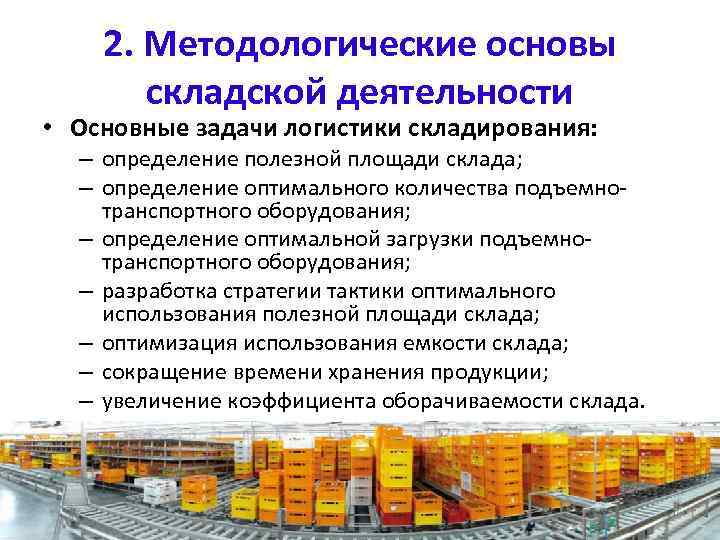 2. Методологические основы складской деятельности • Основные задачи логистики складирования: – определение полезной площади