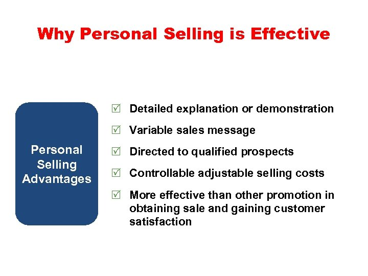 Why Personal Selling is Effective R Detailed explanation or demonstration R Variable sales message