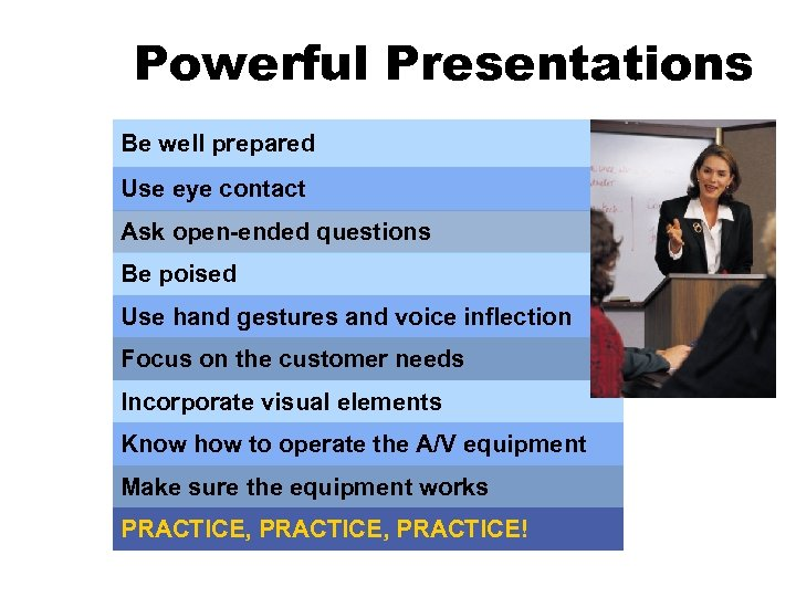 Powerful Presentations Be well prepared Use eye contact Ask open-ended questions Be poised Use