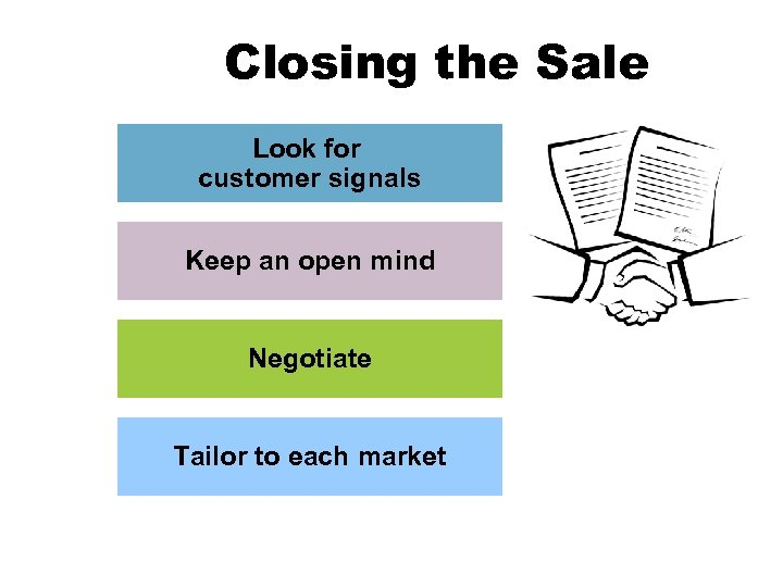 Closing the Sale Look for customer signals Keep an open mind Negotiate Tailor to