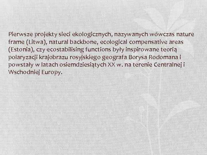 Pierwsze projekty sieci ekologicznych, nazywanych wówczas nature frame (Litwa), natural backbone, ecological compensative areas