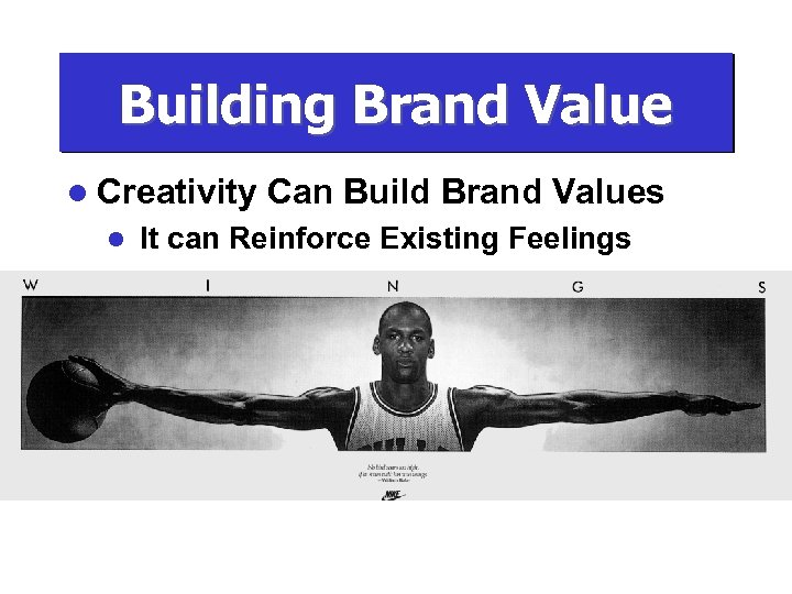 Building Brand Value l Creativity l Can Build Brand Values It can Reinforce Existing