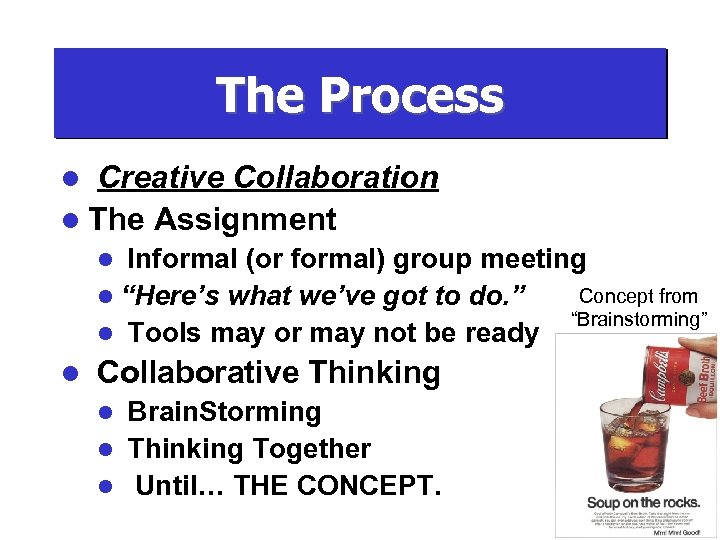 The Process Creative Collaboration l The Assignment l Informal (or formal) group meeting Concept