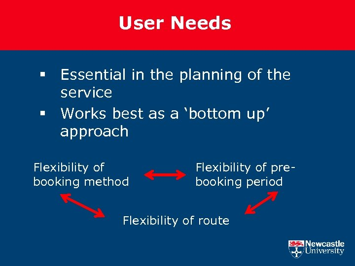 User Needs § Essential in the planning of the service § Works best as