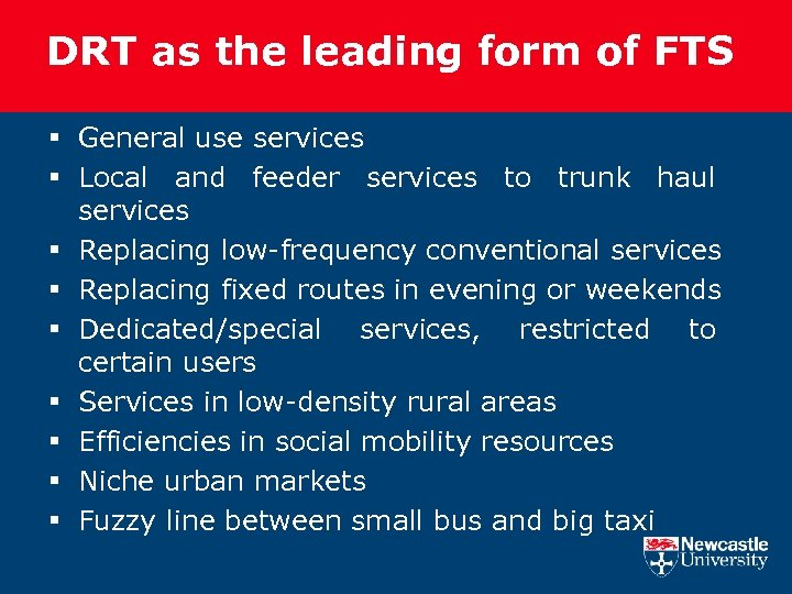 DRT as the leading form of FTS § General use services § Local and