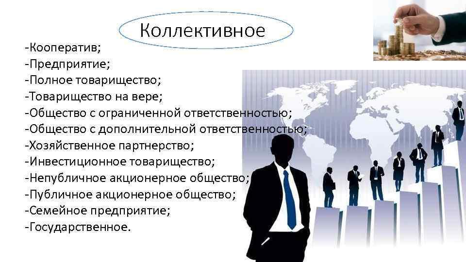 Коллективное -Кооператив; -Предприятие; -Полное товарищество; -Товарищество на вере; -Общество с ограниченной ответственностью; -Общество с