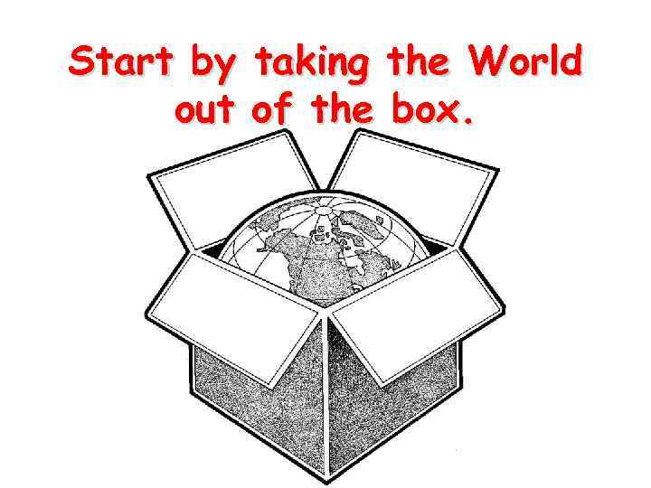 Start by out taking the World of the box.