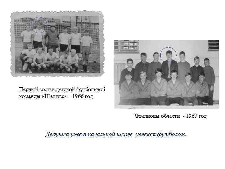 Первый состав детской футбольной команды «Шахтер» 1966 год Чемпионы области 1967 год Дедушка уже