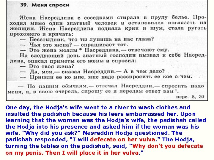 One day, the Hodja's wife went to a river to wash clothes and insulted