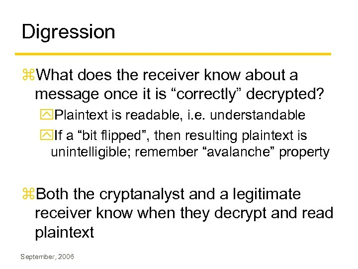 """Digression z. What does the receiver know about a message once it is """"correctly"""""""