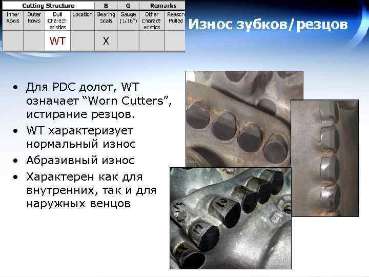 """Износ зубков/резцов • Для PDC долот, WT означает """"Worn Cutters"""", истирание резцов. • WT"""