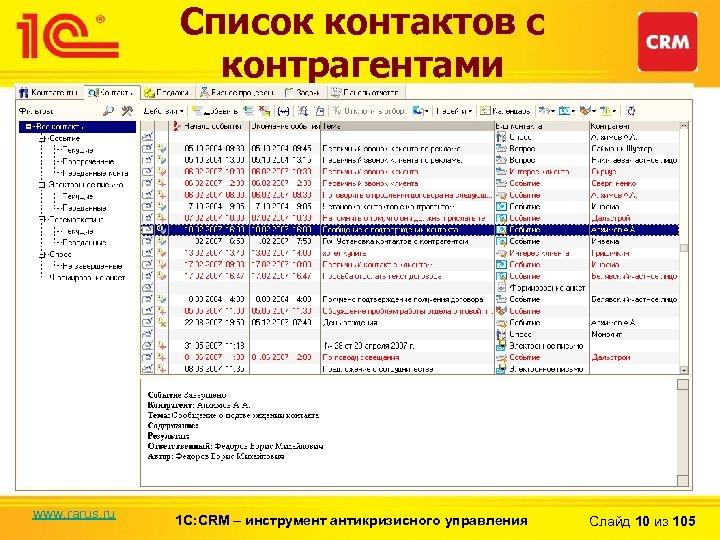 Список контактов с контрагентами www. rarus. ru 1 С: CRM – инструмент антикризисного управления