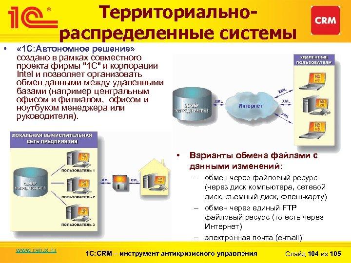 Территориальнораспределенные системы • « 1 С: Автономное решение» создано в рамках совместного проекта фирмы