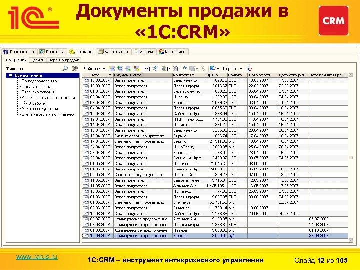 Документы продажи в « 1 С: CRM» www. rarus. ru 1 С: CRM –