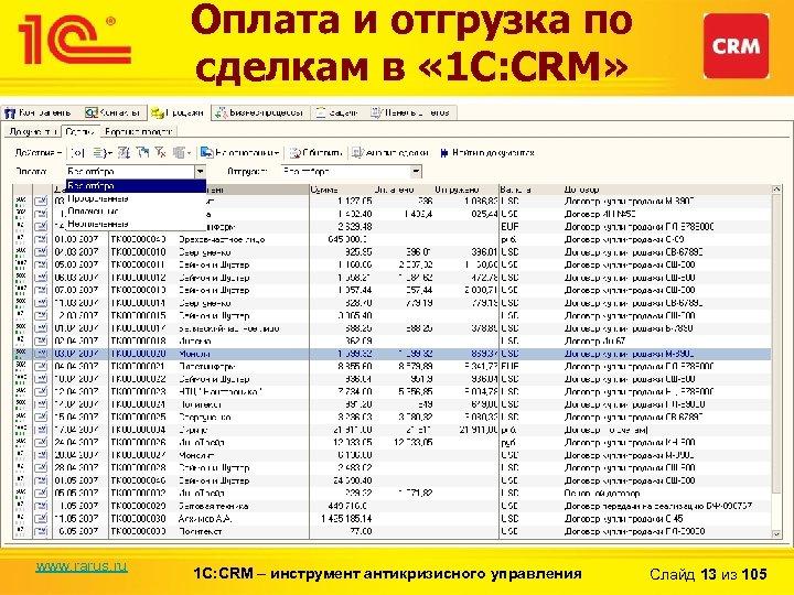 Оплата и отгрузка по сделкам в « 1 С: CRM» www. rarus. ru 1