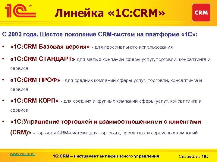 Линейка « 1 С: CRM» С 2002 года. Шестое поколение CRM-систем на платформе «
