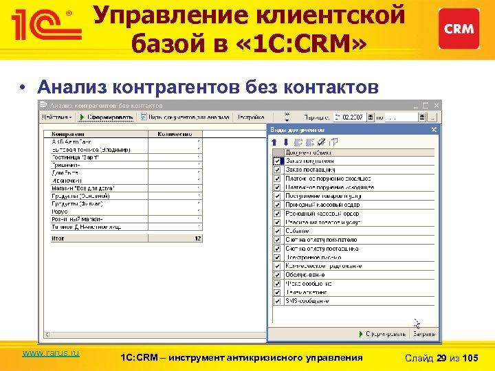 Управление клиентской базой в « 1 С: CRM» • Анализ контрагентов без контактов www.