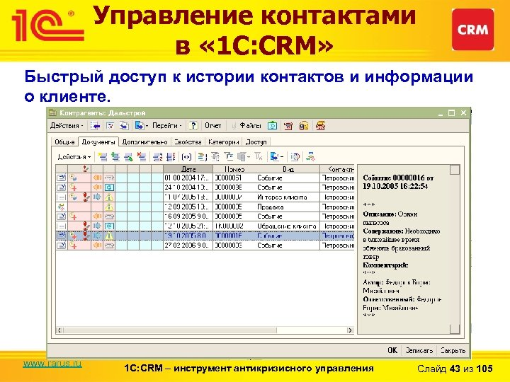 Управление контактами в « 1 С: CRM» Быстрый доступ к истории контактов и информации